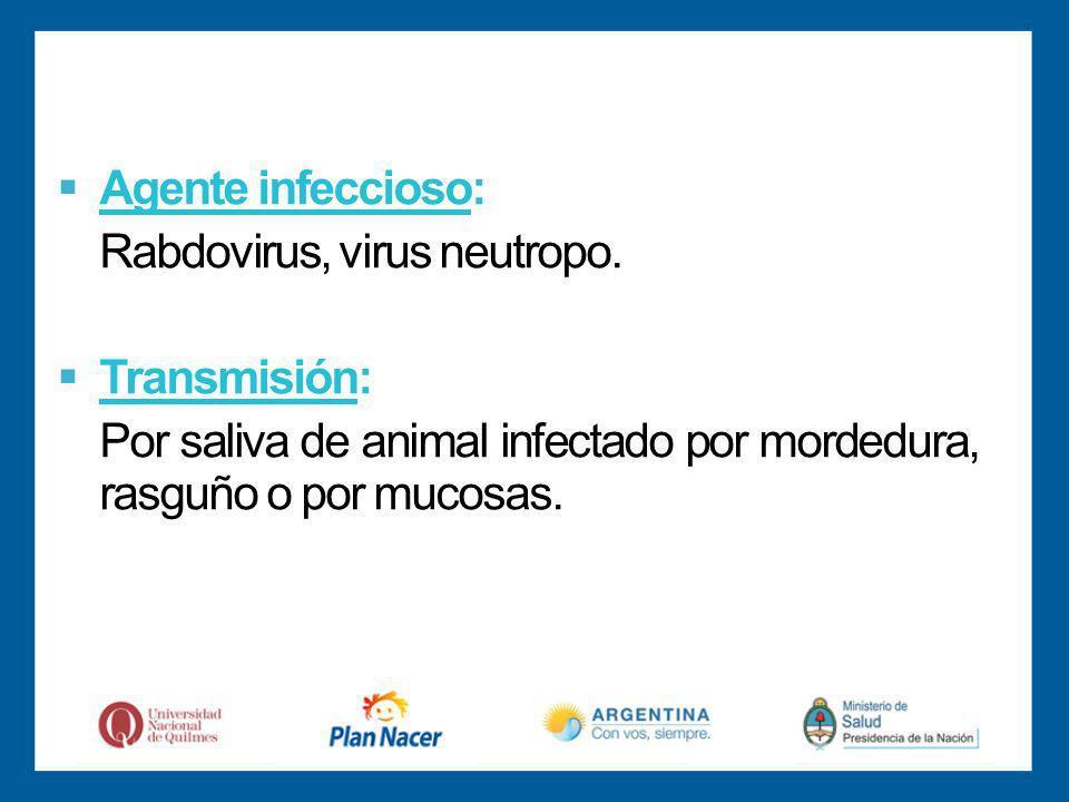 Agente infeccioso: Rabdovirus, virus neutropo.