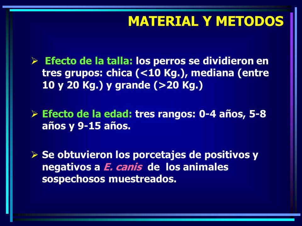 Efecto de la talla: los perros se dividieron en tres grupos: chica ( 20 Kg.) Efecto de la edad: tres rangos: 0-4 años, 5-8 años y 9-15 años. Se obtuvi