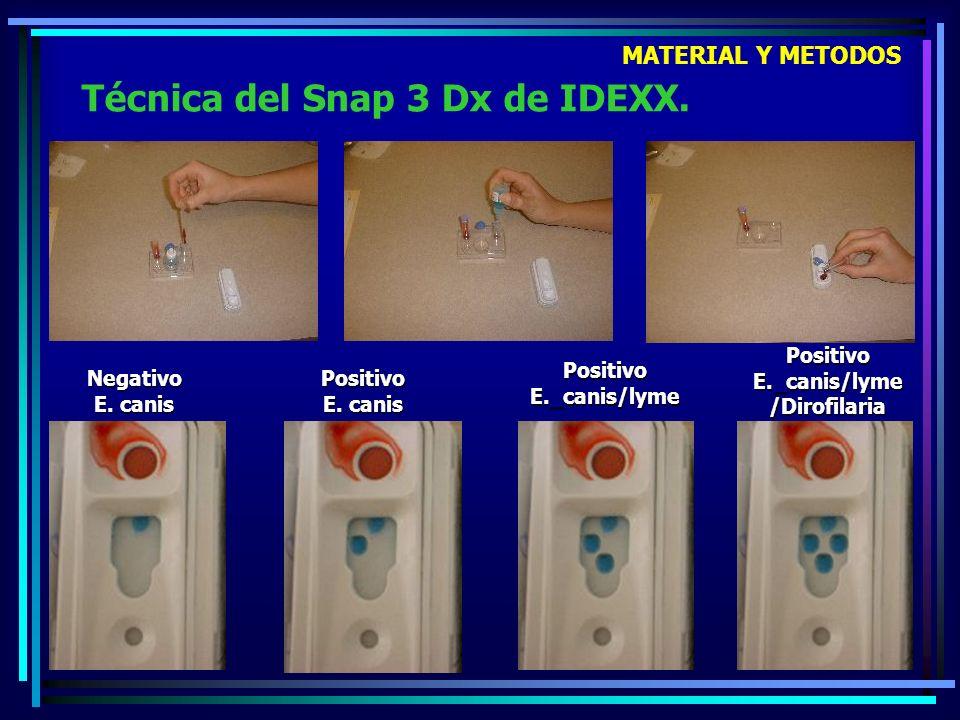 Técnica del Snap 3 Dx de IDEXX. Negativo E. canis Positivo E. canis Positivo E._canis/lyme Positivo E._canis/lyme /Dirofilaria MATERIAL Y METODOS