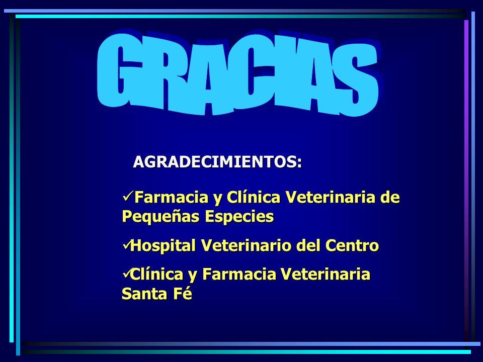 AGRADECIMIENTOS: Farmacia y Clínica Veterinaria de Pequeñas Especies Farmacia y Clínica Veterinaria de Pequeñas Especies Hospital Veterinario del Cent