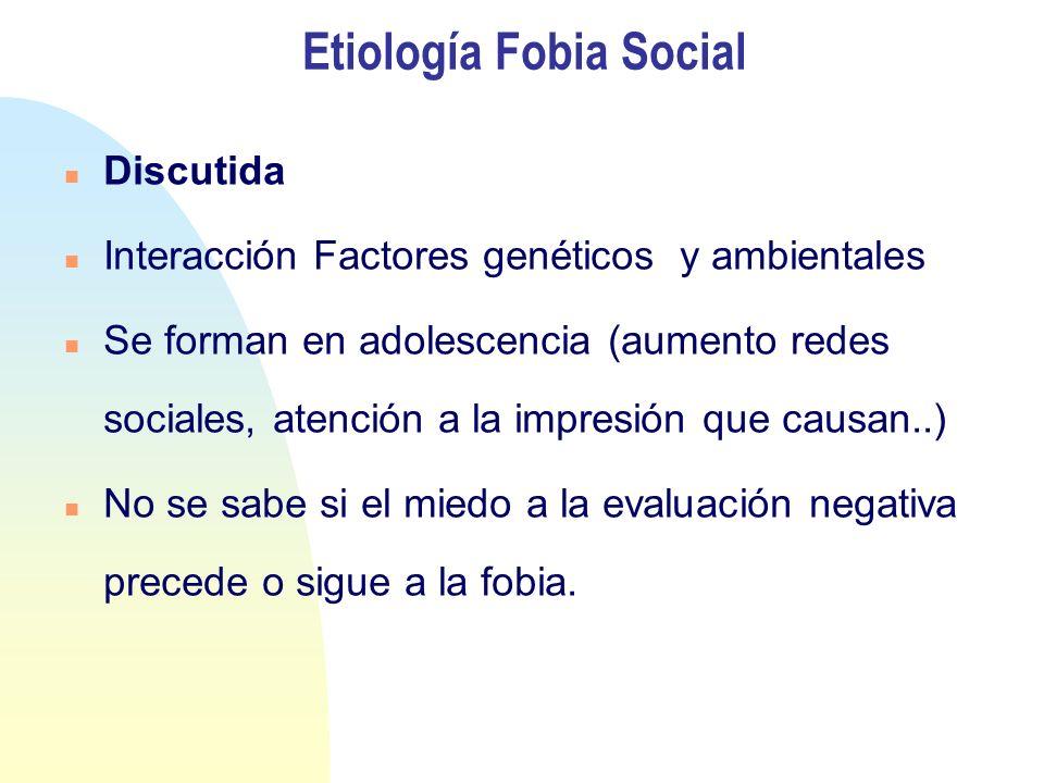 Etiología Fobia Social Discutida Interacción Factores genéticos y ambientales Se forman en adolescencia (aumento redes sociales, atención a la impresión que causan..) No se sabe si el miedo a la evaluación negativa precede o sigue a la fobia.