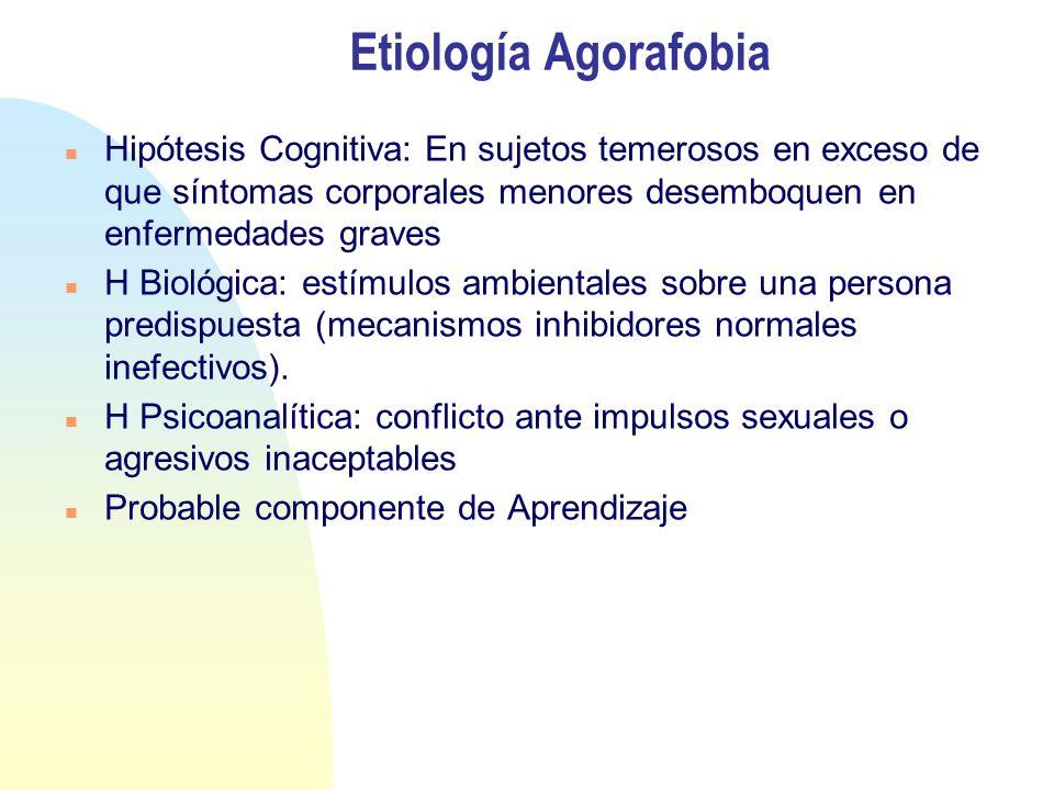 Etiología Agorafobia Hipótesis Cognitiva: En sujetos temerosos en exceso de que síntomas corporales menores desemboquen en enfermedades graves H Biológica: estímulos ambientales sobre una persona predispuesta (mecanismos inhibidores normales inefectivos).