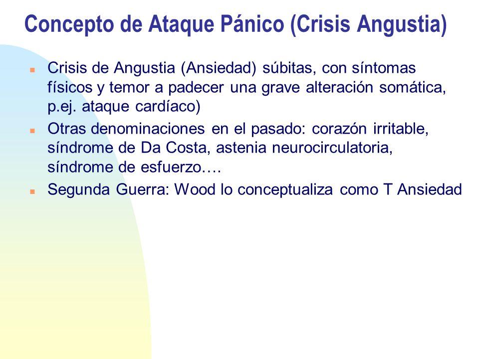 Concepto de Ataque Pánico (Crisis Angustia) Crisis de Angustia (Ansiedad) súbitas, con síntomas físicos y temor a padecer una grave alteración somática, p.ej.