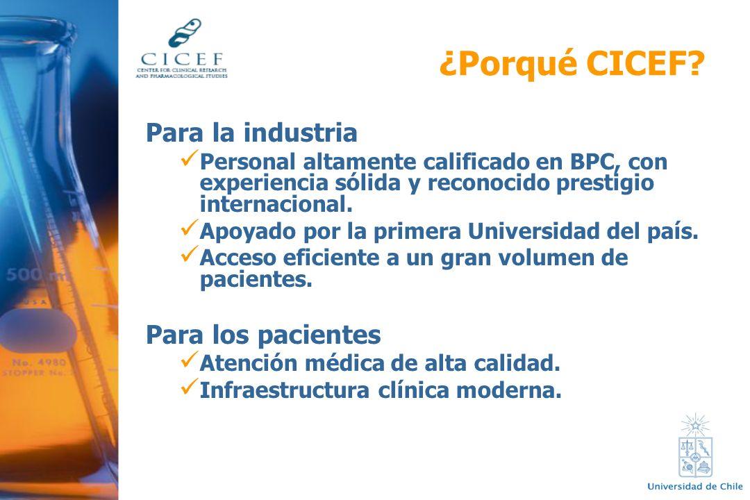 ¿Porqué CICEF? Para la industria Personal altamente calificado en BPC, con experiencia sólida y reconocido prestigio internacional. Apoyado por la pri