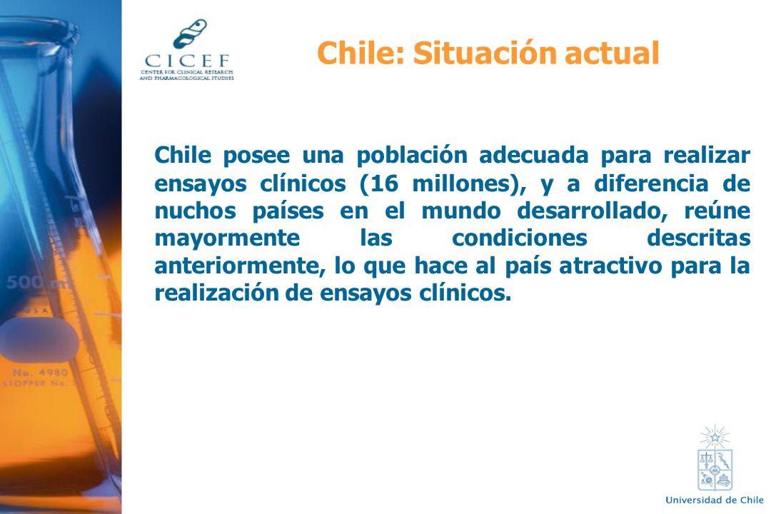 Chile posee una población adecuada para realizar ensayos clínicos (16 millones), y a diferencia de nuchos países en el mundo desarrollado, reúne mayor