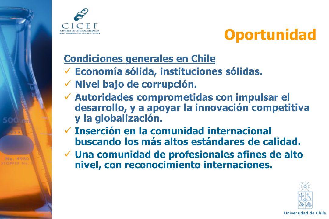 Condiciones generales en Chile Economía sólida, instituciones sólidas. Nivel bajo de corrupción. Autoridades comprometidas con impulsar el desarrollo,
