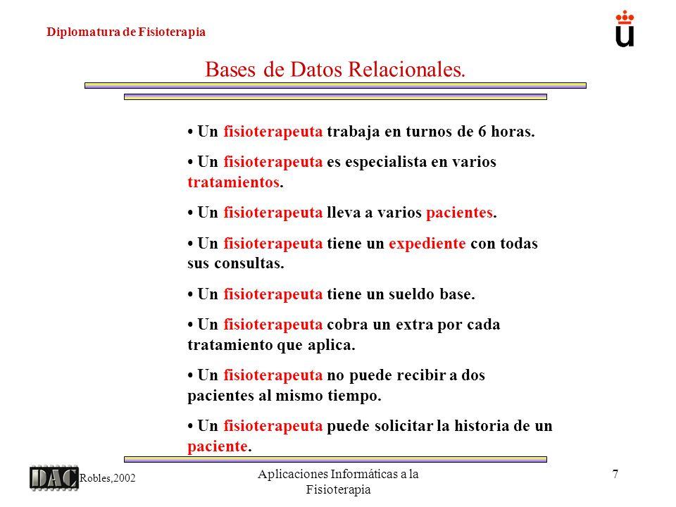 Diplomatura de Fisioterapia Robles,2002 Aplicaciones Informáticas a la Fisioterapia 8 Bases de Datos Relacionales.