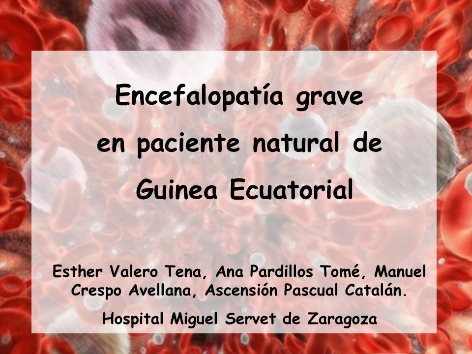 Encefalopatía grave en paciente natural de Guinea Ecuatorial Esther Valero Tena, Ana Pardillos Tomé, Manuel Crespo Avellana, Ascensión Pascual Catalán