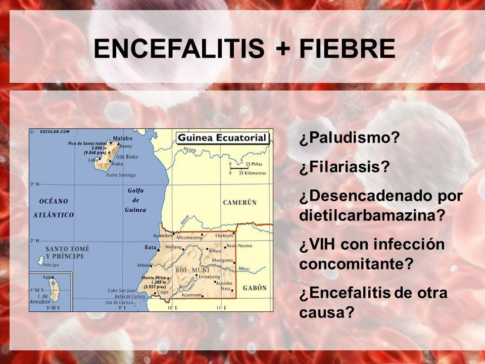 ENCEFALITIS + FIEBRE ¿Paludismo? ¿Filariasis? ¿Desencadenado por dietilcarbamazina? ¿VIH con infección concomitante? ¿Encefalitis de otra causa?
