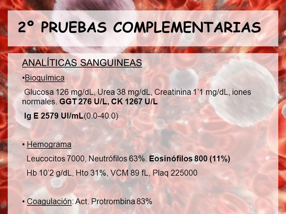 2º PRUEBAS COMPLEMENTARIAS ANALÍTICAS SANGUINEAS Bioquímica Glucosa 126 mg/dL, Urea 38 mg/dL, Creatinina 11 mg/dL, iones normales. GGT 276 U/L, CK 126