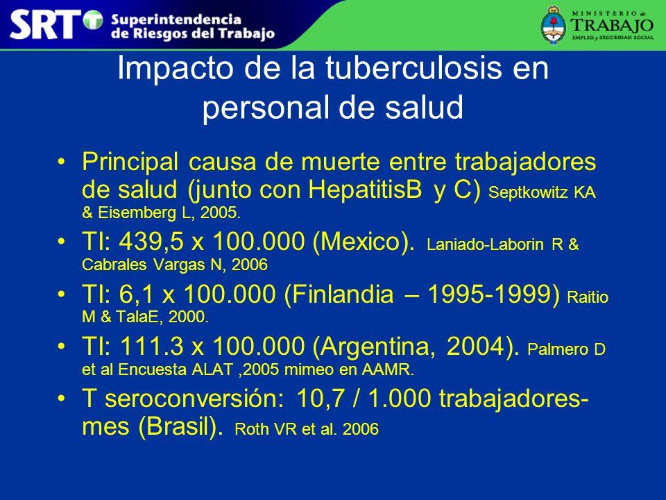 Impacto de la tuberculosis en personal de salud Principal causa de muerte entre trabajadores de salud (junto con HepatitisB y C) Septkowitz KA & Eisem