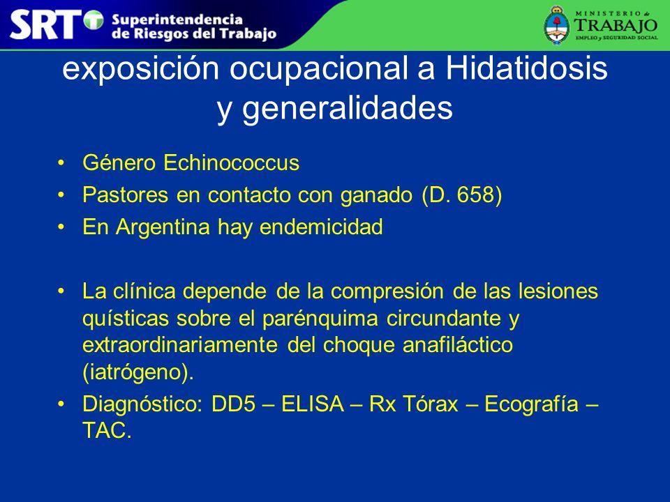 exposición ocupacional a Hidatidosis y generalidades Género Echinococcus Pastores en contacto con ganado (D. 658) En Argentina hay endemicidad La clín
