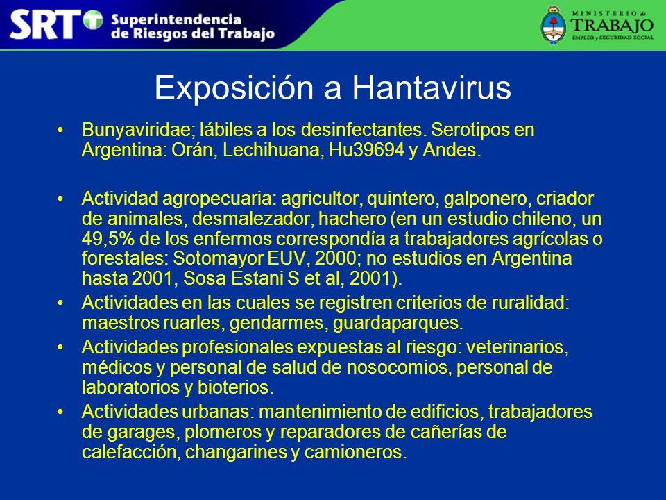 Exposición a Hantavirus Bunyaviridae; lábiles a los desinfectantes. Serotipos en Argentina: Orán, Lechihuana, Hu39694 y Andes. Actividad agropecuaria: