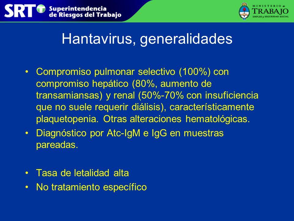 Hantavirus, generalidades Compromiso pulmonar selectivo (100%) con compromiso hepático (80%, aumento de transamiansas) y renal (50%-70% con insuficien