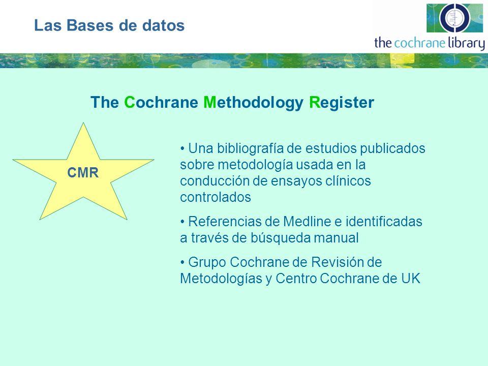 CMR Una bibliografía de estudios publicados sobre metodología usada en la conducción de ensayos clínicos controlados Referencias de Medline e identificadas a través de búsqueda manual Grupo Cochrane de Revisión de Metodologías y Centro Cochrane de UK Las Bases de datos The Cochrane Methodology Register