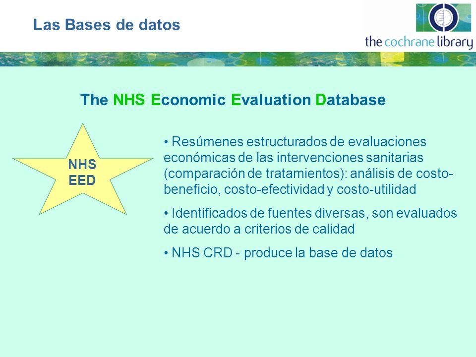NHS EED Resúmenes estructurados de evaluaciones económicas de las intervenciones sanitarias (comparación de tratamientos): análisis de costo- benefici