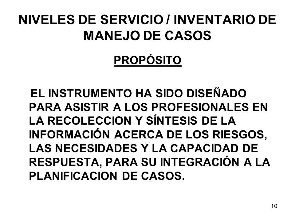 NIVELES DE SERVICIO / INVENTARIO DE MANEJO DE CASOS PROPÓSITO EL INSTRUMENTO HA SIDO DISEÑADO PARA ASISTIR A LOS PROFESIONALES EN LA RECOLECCION Y SÍNTESIS DE LA INFORMACIÓN ACERCA DE LOS RIESGOS, LAS NECESIDADES Y LA CAPACIDAD DE RESPUESTA, PARA SU INTEGRACIÓN A LA PLANIFICACION DE CASOS.