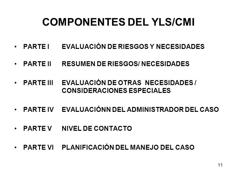 COMPONENTES DEL YLS/CMI PARTE IEVALUACIÓN DE RIESGOS Y NECESIDADES PARTE IIRESUMEN DE RIESGOS/ NECESIDADES PARTE IIIEVALUACIÓN DE OTRAS NECESIDADES / CONSIDERACIONES ESPECIALES PARTE IVEVALUACIÓNN DEL ADMINISTRADOR DEL CASO PARTE VNIVEL DE CONTACTO PARTE VIPLANIFICACIÓN DEL MANEJO DEL CASO 11