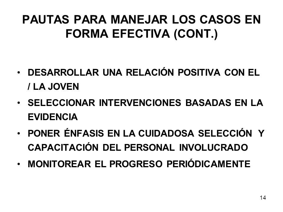 PAUTAS PARA MANEJAR LOS CASOS EN FORMA EFECTIVA (CONT.) DESARROLLAR UNA RELACIÓN POSITIVA CON EL / LA JOVEN SELECCIONAR INTERVENCIONES BASADAS EN LA EVIDENCIA PONER ÉNFASIS EN LA CUIDADOSA SELECCIÓN Y CAPACITACIÓN DEL PERSONAL INVOLUCRADO MONITOREAR EL PROGRESO PERIÓDICAMENTE 14
