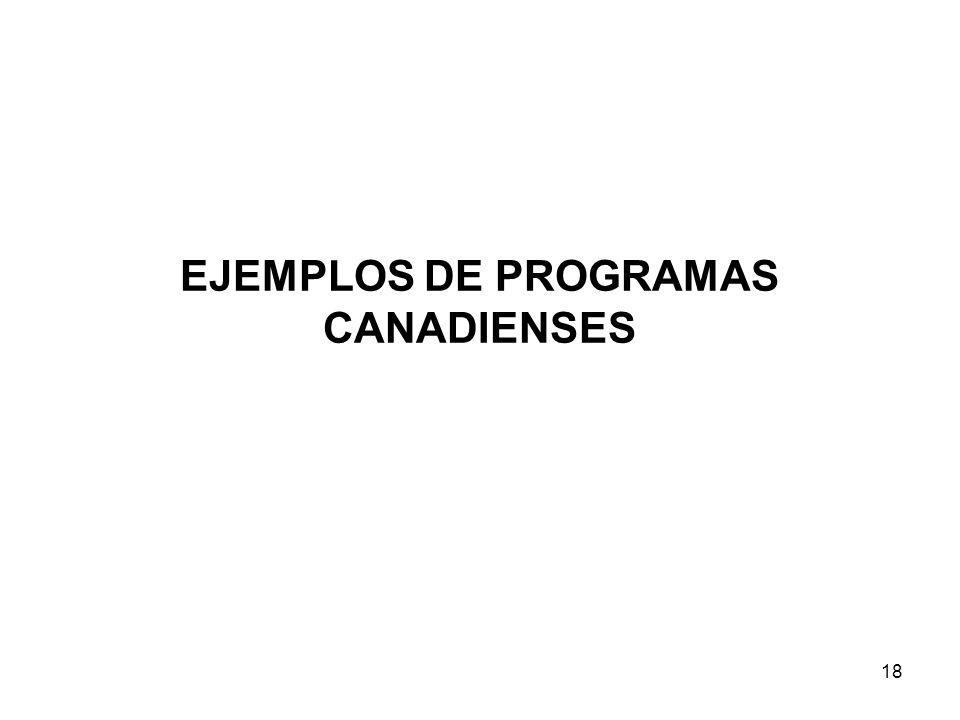 EJEMPLOS DE PROGRAMAS CANADIENSES 18