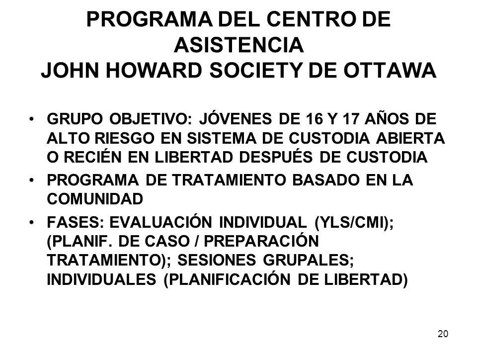 PROGRAMA DEL CENTRO DE ASISTENCIA JOHN HOWARD SOCIETY DE OTTAWA GRUPO OBJETIVO: JÓVENES DE 16 Y 17 AÑOS DE ALTO RIESGO EN SISTEMA DE CUSTODIA ABIERTA