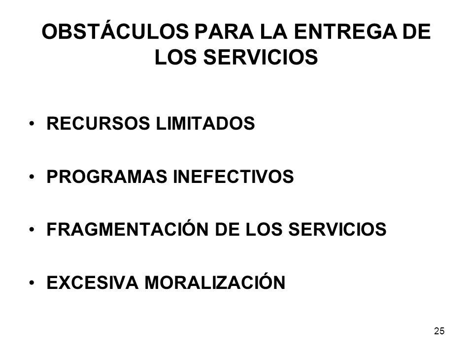 OBSTÁCULOS PARA LA ENTREGA DE LOS SERVICIOS RECURSOS LIMITADOS PROGRAMAS INEFECTIVOS FRAGMENTACIÓN DE LOS SERVICIOS EXCESIVA MORALIZACIÓN 25