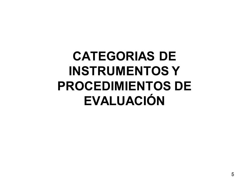 CATEGORIAS DE INSTRUMENTOS Y PROCEDIMIENTOS DE EVALUACIÓN 5