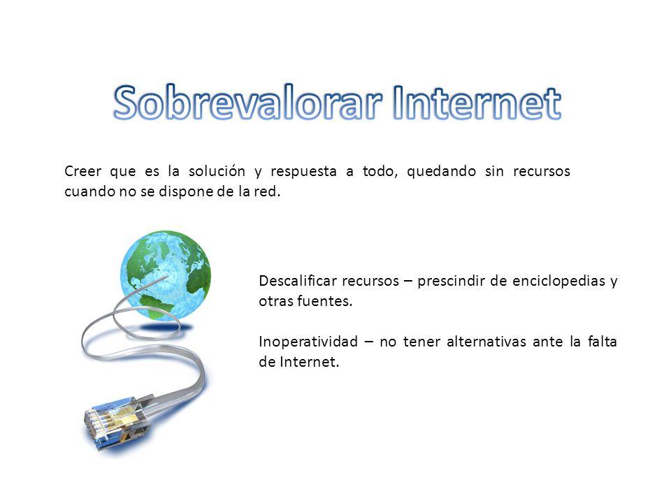 Creer que es la solución y respuesta a todo, quedando sin recursos cuando no se dispone de la red.