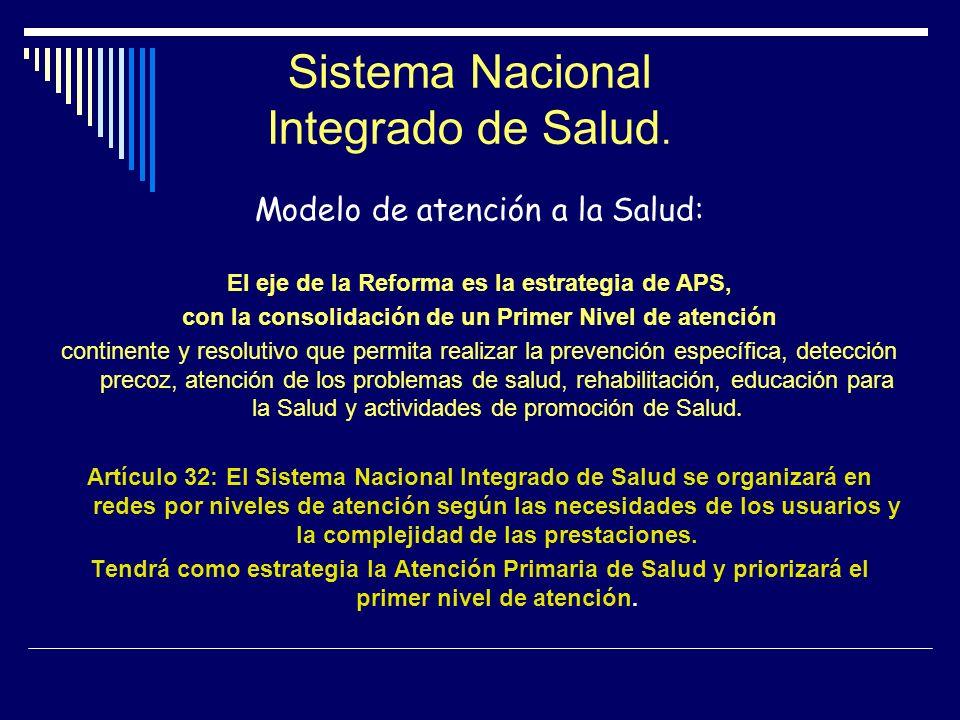 Sistema Nacional Integrado de Salud. Modelo de atención a la Salud: El eje de la Reforma es la estrategia de APS, con la consolidación de un Primer Ni