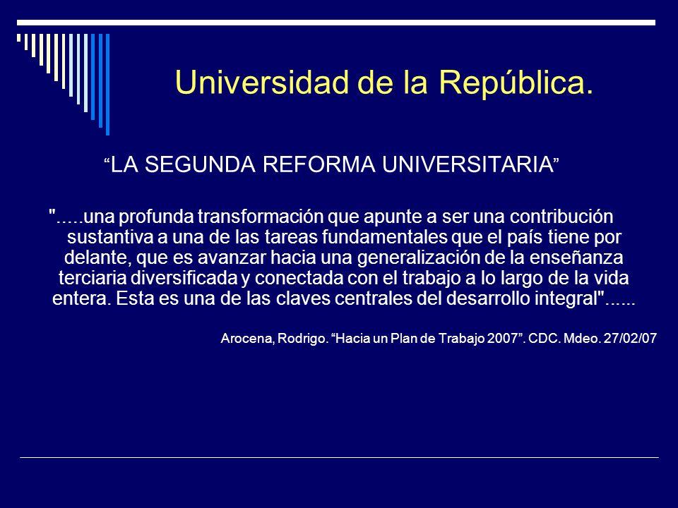 Universidad de la República. LA SEGUNDA REFORMA UNIVERSITARIA