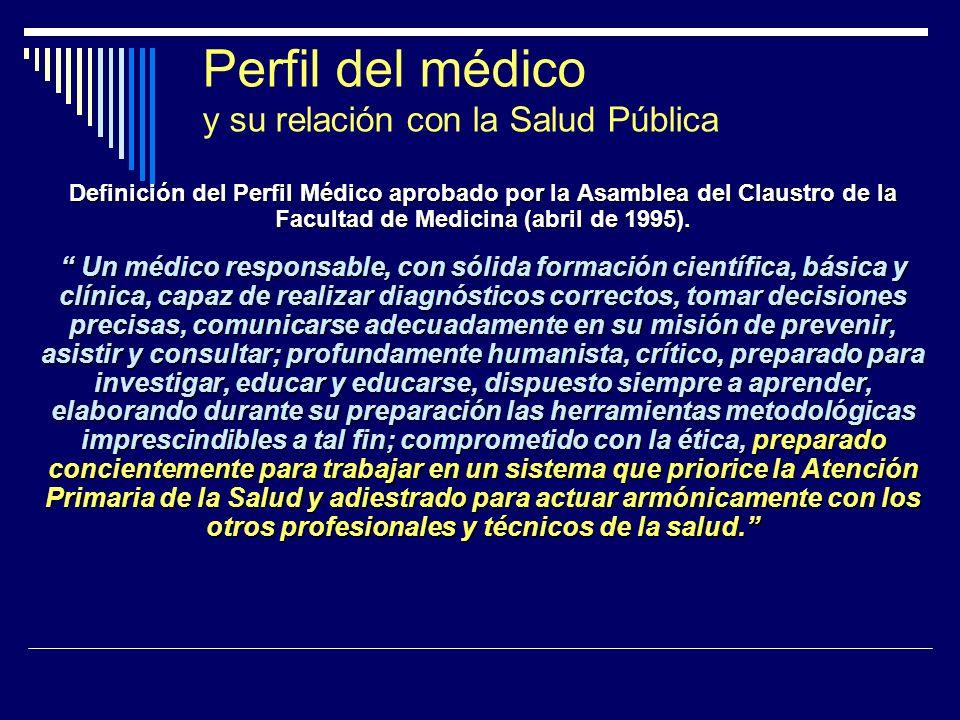 Perfil del médico y su relación con la Salud Pública Definición del Perfil Médico aprobado por la Asamblea del Claustro de la Facultad de Medicina (ab
