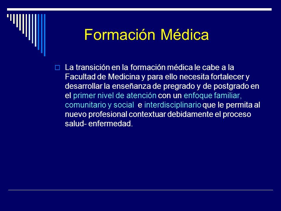 Formación Médica La transición en la formación médica le cabe a la Facultad de Medicina y para ello necesita fortalecer y desarrollar la enseñanza de