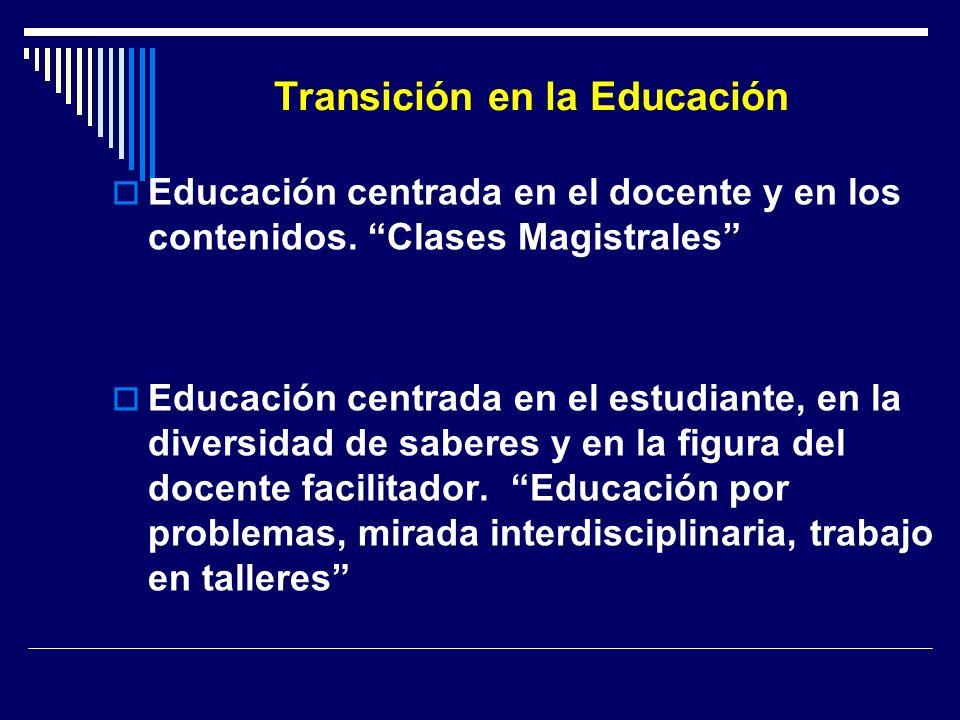 Transición en la Educación Educación centrada en el docente y en los contenidos. Clases Magistrales Educación centrada en el estudiante, en la diversi