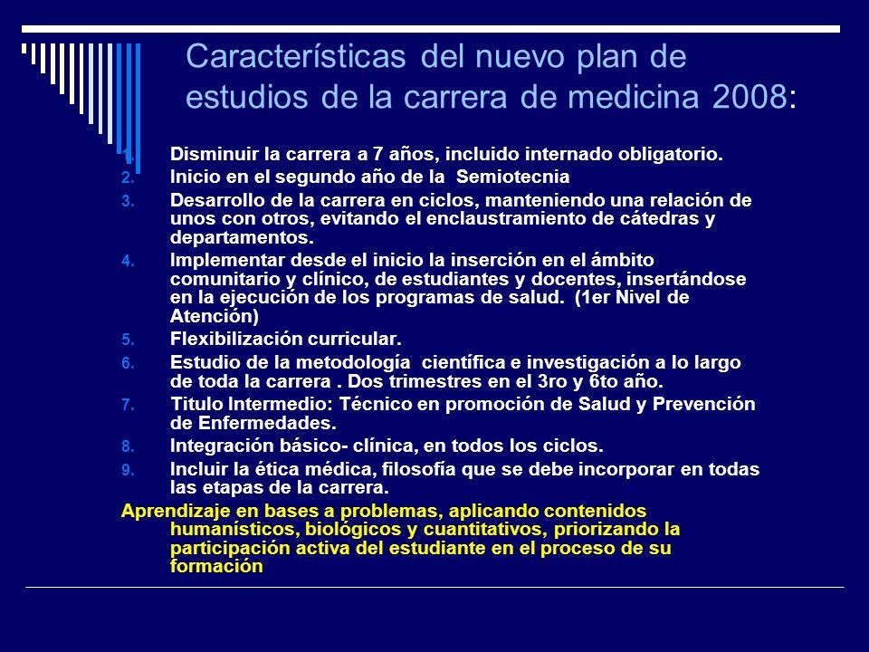 Características del nuevo plan de estudios de la carrera de medicina 2008: 1. Disminuir la carrera a 7 años, incluido internado obligatorio. 2. Inicio