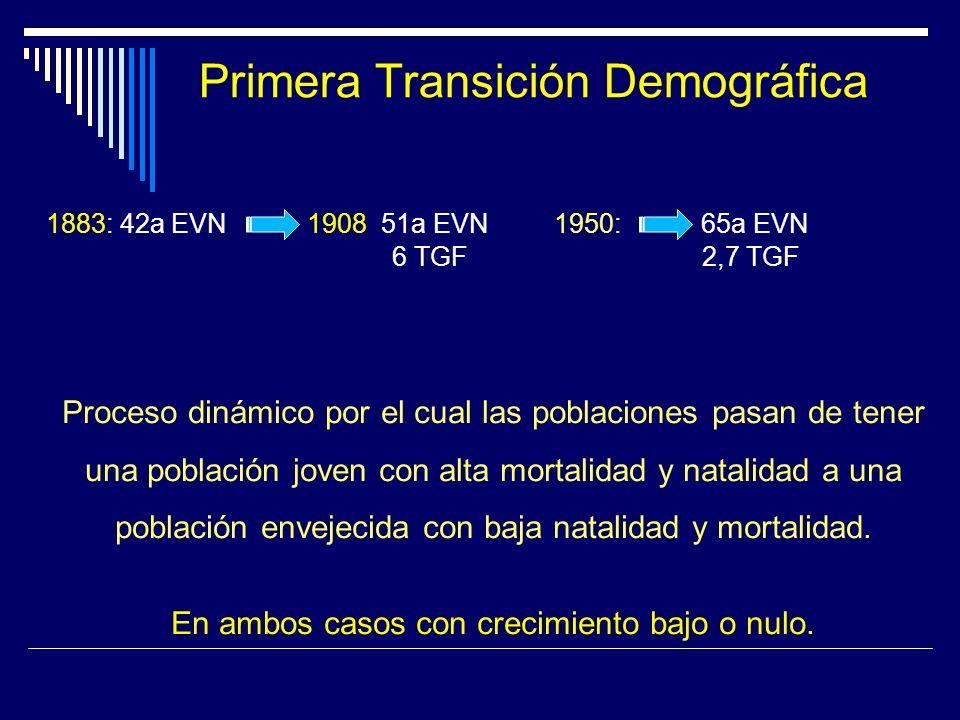 Primera Transición Demográfica 1883: 42a EVN 1908: 51a EVN 1950: 65a EVN 6 TGF 2,7 TGF Proceso dinámico por el cual las poblaciones pasan de tener una