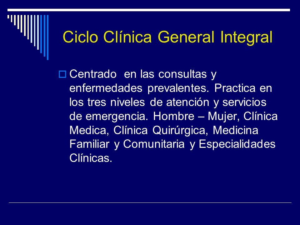 Ciclo Clínica General Integral Centrado en las consultas y enfermedades prevalentes. Practica en los tres niveles de atención y servicios de emergenci