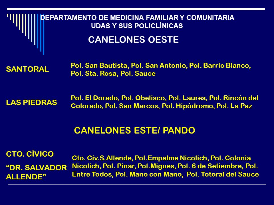 DEPARTAMENTO DE MEDICINA FAMILIAR Y COMUNITARIA UDAS Y SUS POLICLÍNICAS CANELONES OESTE SANTORAL Pol. San Bautista, Pol. San Antonio, Pol. Barrio Blan