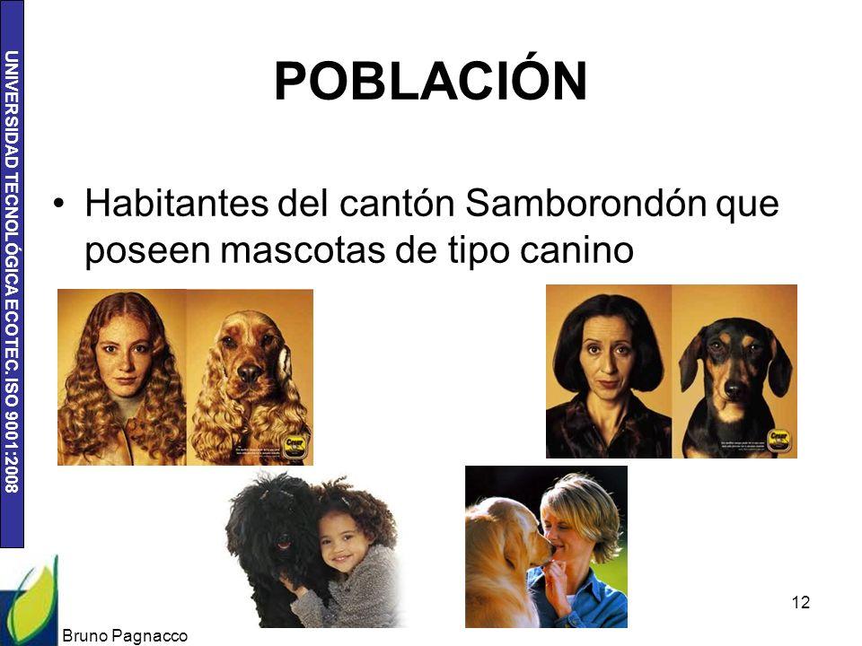 UNIVERSIDAD TECNOLÓGICA ECOTEC. ISO 9001:2008 POBLACIÓN Habitantes del cantón Samborondón que poseen mascotas de tipo canino Bruno Pagnacco 12