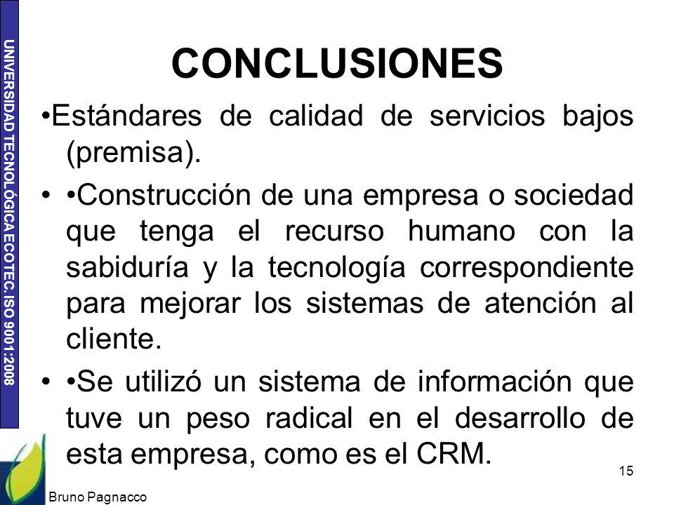 UNIVERSIDAD TECNOLÓGICA ECOTEC. ISO 9001:2008 CONCLUSIONES Estándares de calidad de servicios bajos (premisa). Construcción de una empresa o sociedad