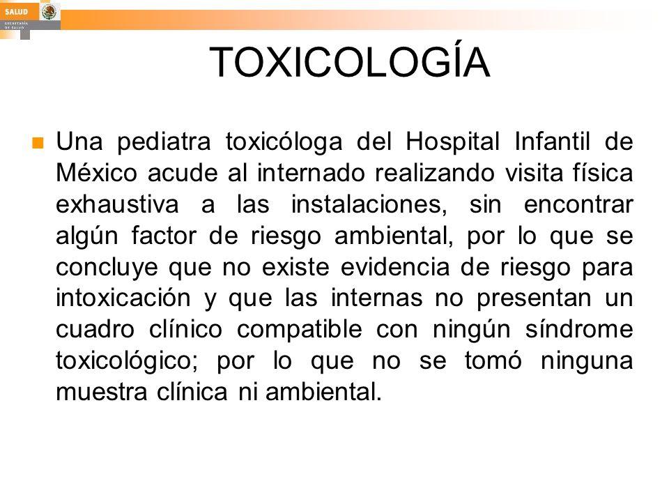 TOXICOLOGÍA Una pediatra toxicóloga del Hospital Infantil de México acude al internado realizando visita física exhaustiva a las instalaciones, sin en