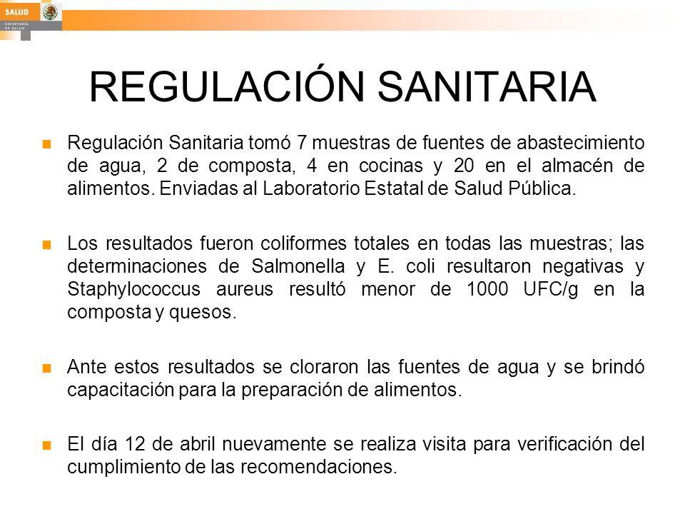 REGULACIÓN SANITARIA Regulación Sanitaria tomó 7 muestras de fuentes de abastecimiento de agua, 2 de composta, 4 en cocinas y 20 en el almacén de alim