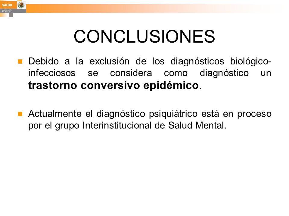 CONCLUSIONES Debido a la exclusión de los diagnósticos biológico- infecciosos se considera como diagnóstico un trastorno conversivo epidémico. Actualm