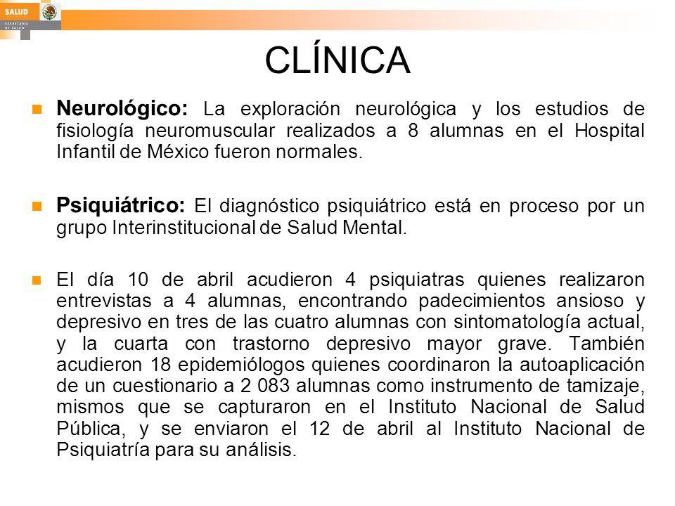 CLÍNICA Neurológico: La exploración neurológica y los estudios de fisiología neuromuscular realizados a 8 alumnas en el Hospital Infantil de México fu