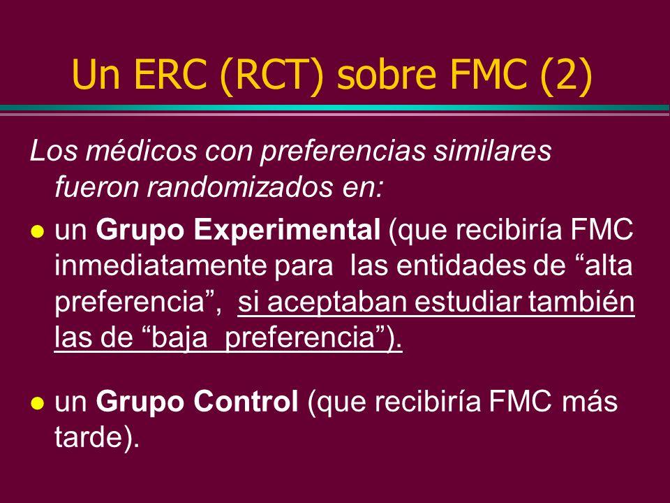 Un ERC (RCT) sobre FMC (1) Se entregó la lista de problemas clínicos a una muestra randomizada de médicos y se les pidió que identificaran: l aquellas