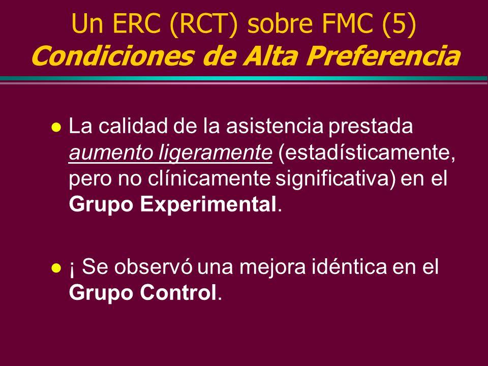 Un ERC (RCT) sobre FMC (4) Entonces se procedió a medir la calidad de la atención prestada a las condiciones indicadoras de alta preferencia, baja pre