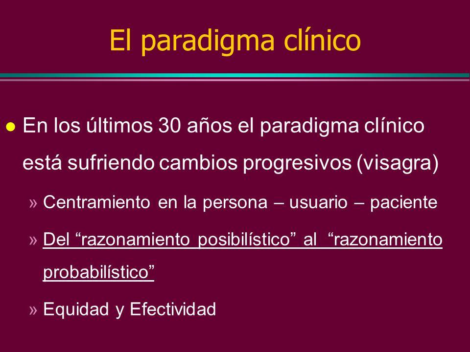 El paradigma clínico l Un paradigma es una forma de ver el mundo basada en las pruebas científicas disponibles (Thomas Kuhn) l Es un modelo en el que