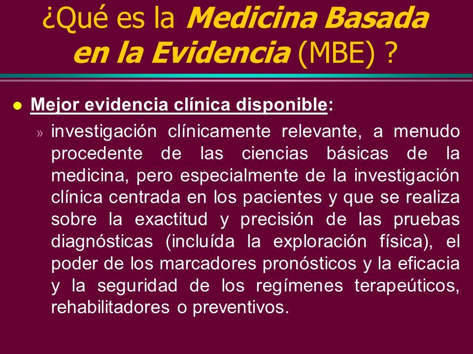 ¿Qué es la Medicina Basada en la Evidencia (MBE) ? l Maestría clínica individual: El dominio creciente del conocimiento y el juicio que cada clínico a