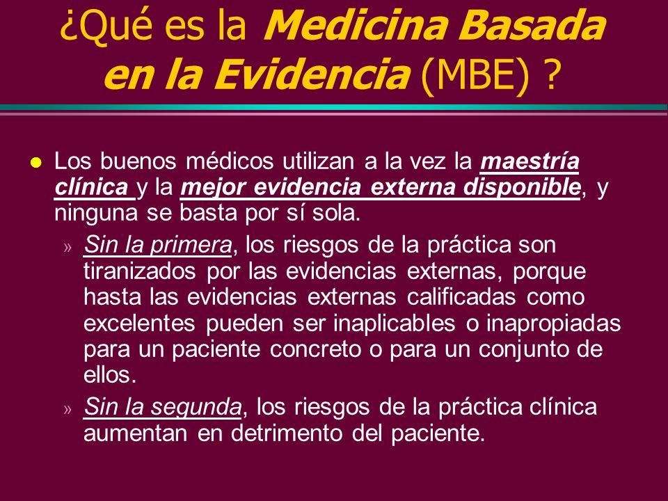 ¿Qué es la Medicina Basada en la Evidencia (MBE) ? l La evidencia clínica externa tiene un corto periódo de duplicación, y puede invalidar pruebas dia