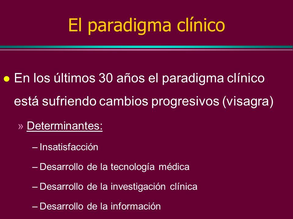 El paradigma clínico l En los últimos 30 años el paradigma clínico está sufriendo cambios progresivos (visagra) »Centramiento en la persona – usuario