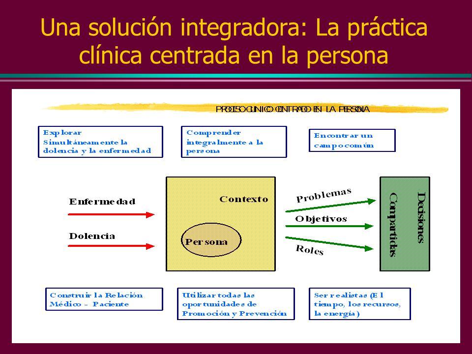 Una solución integradora: La práctica clínica centrada en la persona MAESTRIA CLINICA RELACIONADA CON LA INTEGRACION DE VALORES DE NUESTRO PACIENTE LA